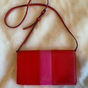 Kate Spade Red and Pink Crossbody Bag